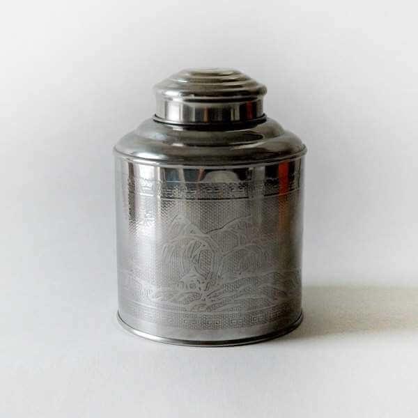 envejecer y conservar té lata clásica de peltre PruebaTé
