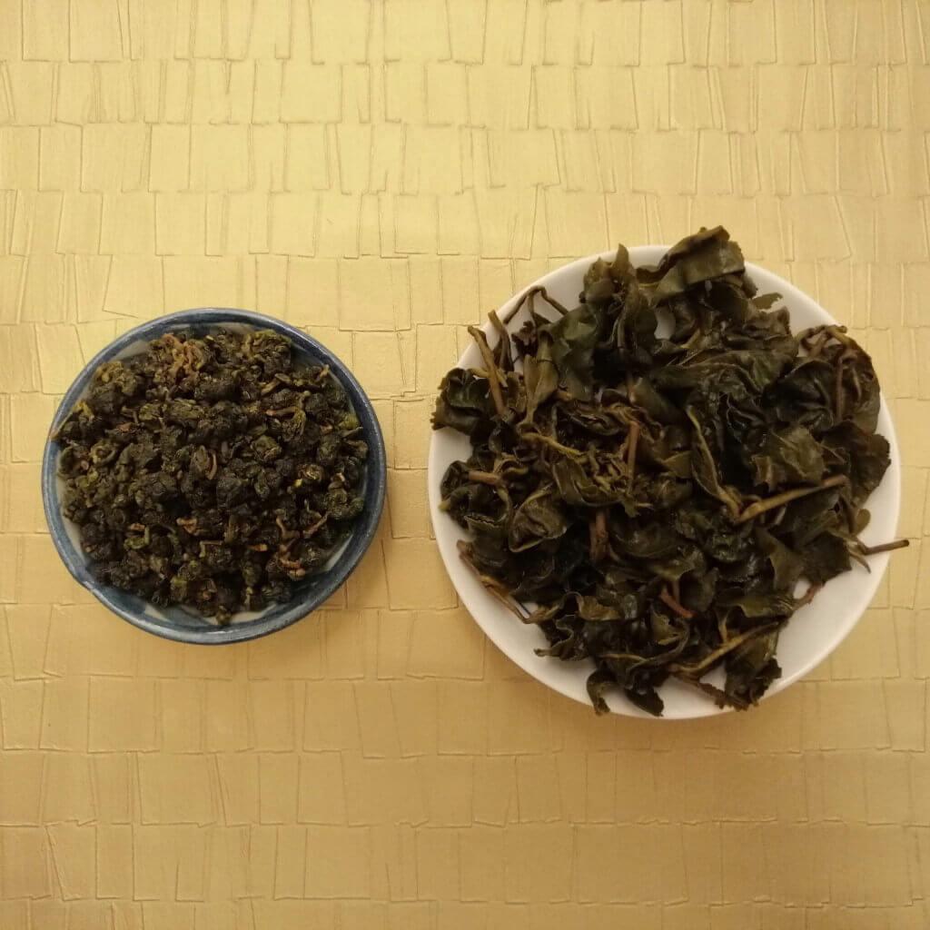 Té oolong verde Shanlinxi orgánico hoja en seco y húmeda